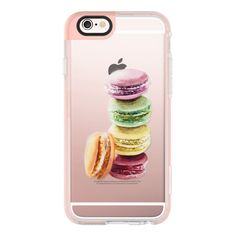 Pastel Macarons Watercolor Painting Transparent - iPhone 7 Case,... ($40) ❤ liked on Polyvore featuring accessories, tech accessories, iphone case, iphone hard case, iphone cover case, iphone cases, apple iphone cases and transparent iphone case