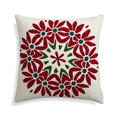 "Poinsettia 18"" Holiday Pillow with Down-Alternative Insert 