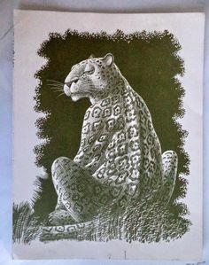 PUMA Leopard Woodcut 1960s original jungle animals print Leonard Everett Litho Children Book Illustration Child Decor Wall Art, engraving by MushkaVintage3 on Etsy