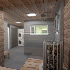 Pesuhuoneen ja saunan 3D-sisustussuunnitelma, Teritalojen malli Moderna 220/ harmaa kuusiokulmalaatta, harmaa seinälaatta, harmaa 10x10 lattialaatta, suorareunainen tervaleppäpaneeli, valkoiset kiintokalusteet/ 3D-sisustus Tilanna