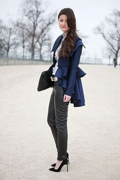 LOVE this coat.  But those shoes don't look like they were made for walking. - Parisian women never seem to resort to track shoes while traveling to and from work.  If they wear heels, they wear them walking.