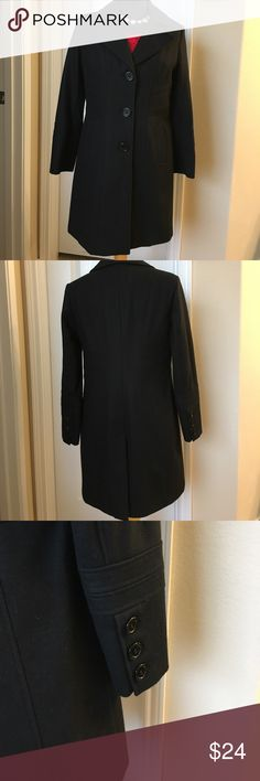 """🌼Gorgeous black wool blend coat!🖤🖤 EUC coat, barely worn. 18"""" across bust, 17"""" across waist, 33"""" length from bottom of collar to hem. There are 3 large front buttons plus 3 on each cuff. Extra stitching detail really adds so much, pics don't do it justice! This coat is absolutely awesome!  🌹 Worthington Jackets & Coats"""