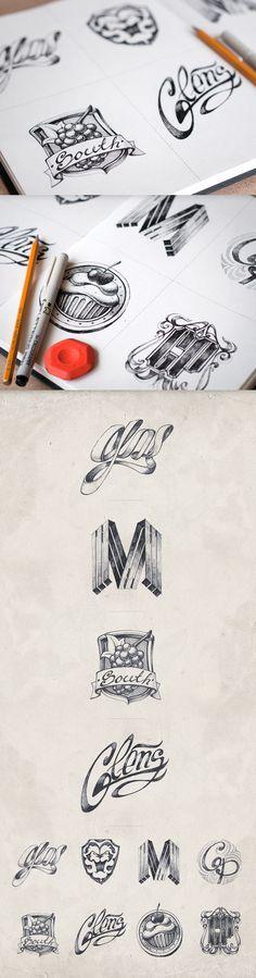 20 gezeichnete Logoskizzen - Inspiration pur [LangweileDich.net]
