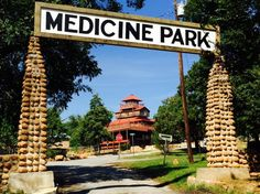 Medicine Park...           Nestled in the Wichita Mountains in southwestern Oklahoma is the vintage cobblestone resort town, Medicine Park. Step back in time as you stroll the quaint Cobblestone Row filled with shopping, history and small town America. It is surrounded by natural beauty on all sides, water running right through it and the Wichita Mountain Wildlife Refuge right next to it. You can enjoy a day trip or weekend trip of breathtaking scenery, fishing, swimming, hiking, shopping.