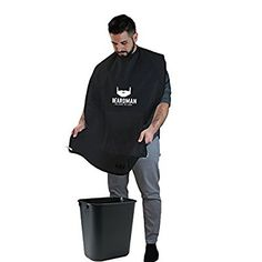 BEARDMAN - Hair Trimming Catcher Cape - The Improved Beard Apron with Strong Suction Cups for Mirror - Wooden Beard Comb Included - Best Gifts Idea for Him Men Boyfriend Husband - Black Beard Apron, Thing 1, Catcher, The North Face, Best Gifts, Boyfriend, Husband, Strong, Super Easy