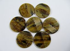 Vintage Lot of 7 Art-Deco Marbled Tortoise Carved Bakelite / Celluloid Buttons * 25mm *** # B-205 by TheTreasureBoxOrna on Etsy