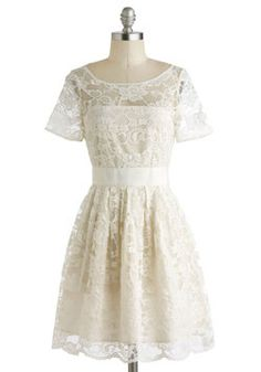 If I ever chose to elope or do a court only wedding, this is the dress to get married in! I love the lace, its so lady like and delicate and I love the bottom of the dress, how it poofs out a bit. I think it would make for an interesting silhouette that would complimet any woman's body.  Adrift on a Cloud Dress, #ModCloth