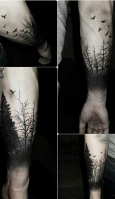 forest sleeve tattoo design black ink
