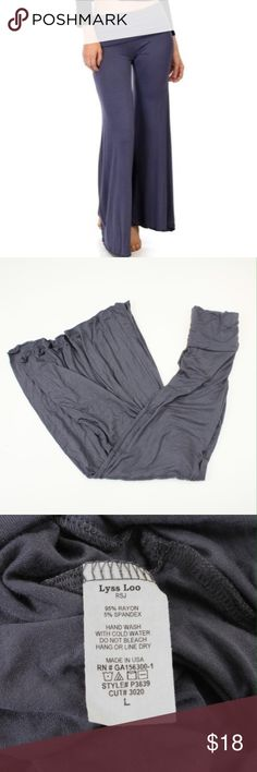 """Grey Fit & Flare Palazzo Pants These trendy pants hug you through the thigh and flare out at the knee. With an elastic folded waistband, these pants are the ultimate comfort. The ultra soft and lightweight material is a luxurious 95% Rayon, 5% Spandex blend. The sizing chart states these will fit between 41.5-43"""" in the hips and 32-33.5"""" in the waist. The inseam measure about 32"""". #9EK18 Pants Boot Cut & Flare"""