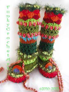 Crochet Slipper Boots/ Leg Warmer Combo Awesome Fashion, Handmade, Knee High, Trendy, Multi colored, Hippy, OOAK, warm,Boho. $50,00, via Etsy.