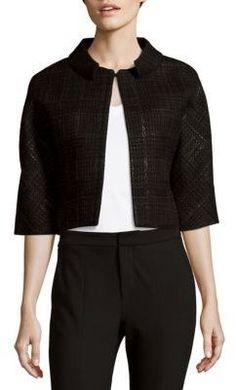 Carolina Herrera Weave-Pattern Wool-Blend Jacket
