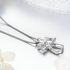Silver Earrings For Women Earrings Uk, Silver Drop Earrings, Sterling Silver Necklaces, Rose Gold Jewelry, Swarovski Jewelry, Gold Jewellery, Guardian Angel Necklace, Jewelry Making Supplies, Handmade Necklaces