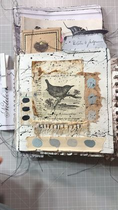 "Karen Webb on Instagram: ""Multi-layered journal flip through... Happy Saturday 🦋🐦... #naturecollection #themedart #postcardart #machinestitching #creativeprocess…"" Postcard Art, Nature Collection, Happy Saturday, Journals, Vintage World Maps, Stitch, Photo And Video, Instagram, Full Stop"