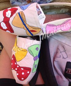 Disney bows Toms shoes by ValeriaMalariaArt on Etsy, $100.00