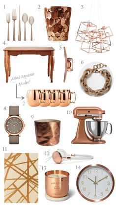 trending: copper, rose gold, home decor