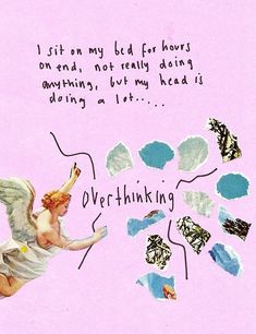 overthinking, quote, and pink image