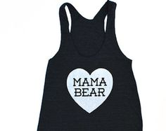 Mama Bear with Heart TriBlend Heather Black Racerback Tank Top - Family Photos, Baby Shower, Expecting, Announcement, Gift for Mom