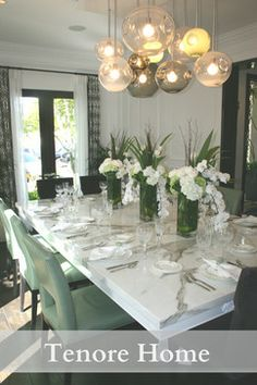 Dining room with GORGEOUS marble table