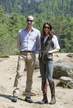 Prince William, Duke of Cambridge and Catherine, Duchess of Cambridge pose on the trek up to Tiger's Nest during a visit to Bhutan on the 15th April 2016 in Thimphu, Bhutan.