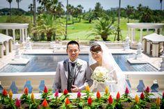 愛知県在住、H様ご夫妻。「おかげさまで晴天にもめぐまれたとても素晴らしい挙式でした。」
