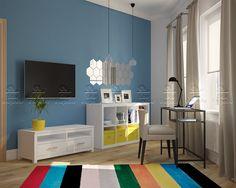 """Готовый дизайн проект однокомнатной квартиры с нестандартной угловой планировкой. Проект """"Краски для двоих"""""""