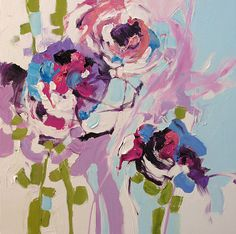 Original Painting Floral Abstract or Impressionist by lindamonfort