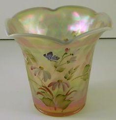 Hand Painted Fenton Fan Vase   Fenton-Opalescent-Diamond-Optic-Hand-Painted-Vase-Lt-Ed