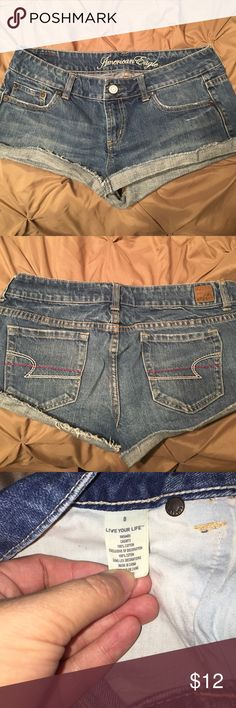 American eagle jean shorts Super cute jean shorts that can be wore folded up or not. Very comfortable! American Eagle Outfitters Shorts Jean Shorts