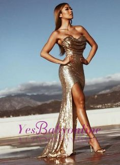 2017 Side Slit Prom Dresses Ruched Mermaid Gold Sleeveless Sexy Evening Gowns_Prom Dresses_2017 Special Occasion Dresses_Wholesale Wedding Dresses, Lace Prom Dresses, Long Formal Dresses, Affordable Prom Dresses - High Quality Wedding Dresses - Yesbabyonline.com