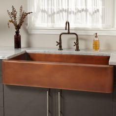 "Sale - 39"" Amelie Smooth Copper Farmhouse Sink"