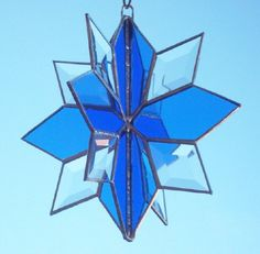 3D+STAINED+GLASS++Twirly+Star+Snowflake+3D+by+SunflowerGlassworks,+$42.00