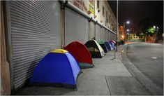 Skid Row Homeless | Some Respite, if Little Cheer, for Skid Row Homeless .. 6th st east of los angeles st .. Everyone here has to get up early and clear out so shopkeepers can prep and open up.