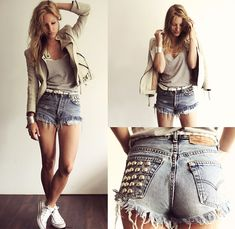 Zara White Leather Jacket, Levi Vintage Shorts w. Metal Studs, White Converse, and Filippa K Grey Top- Cute Summer Outfit Vintage Shorts, Vintage Denim, Mode Style, Style Me, Fashion Moda, Womens Fashion, Emo Fashion, Gothic Fashion, Studded Shorts