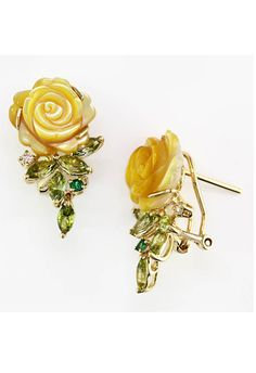 effy collection DWT Diamond Gold Yellow Mother Of Pearl Earrings - pretty pretty Bling Jewelry, Jewelry Box, Jewelry Accessories, Jewelry Design, Mother Of Pearl Earrings, Yellow Roses, Jewelries, Designing Women, Jewerly