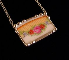 Pink rose porcelain broken china jewelry by dishfunctionldesigns, $50.00
