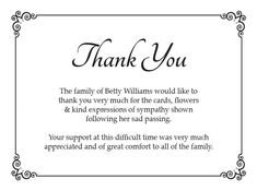 Bereavement Thank You Card Messages  Hand Written Funeral And