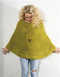 Pretty cables and ties with pompoms, design by Sidsel J. Cable Knitting, Knitting Books, Poncho Shawl, Knitted Poncho, Yarn Needle, Crochet Clothes, Jumpers, Diy Fashion, Knitting Patterns
