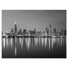 2abfc1910639  Chicago Skyline at Night Black and White Cityscape  Photographic Print on  Wrapped Canvas Chicago
