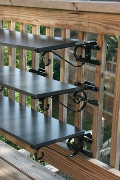 Add instant quality shelves to your fence and deck in Seconds without tools or hardware. FenceHangers® is a brand new patented product line specializing in How-to MAXIMIZE outdoor vertical spaces. 3 Tier Bar station is pictured. Also a great solution to hanging large heavy plants or mounting bird feeders exactly where you want. Visit www.FenceHangers.com for more unique deck, fence and balcony accessories!