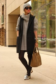 great way to wear a chunky sweater-dress (thought, i think it'd do without the hat)
