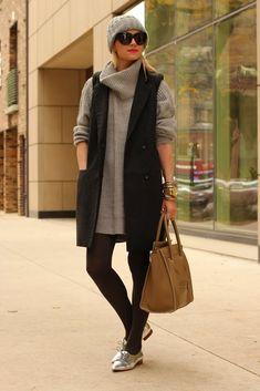 Zara dress. H & M vest.