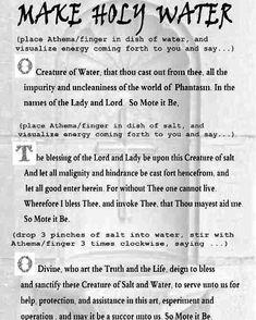 your own wiccan holy water Witchcraft Spell Books, Wicca Witchcraft, Magick Spells, Curse Spells, Wiccan Rituals, Healing Spells, Witch Board, Under Your Spell, Wiccan Crafts