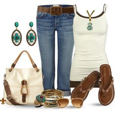 Cute outfit  Denim jeans, white spaghetti strap top, sandals, summer, casual, daytime