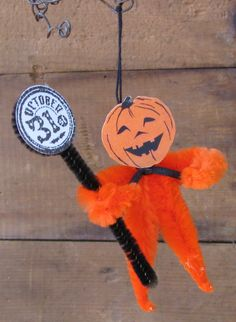 Halloween Chenille Pumpkin Man Ornament - about 3 inches long    Ready to Ship