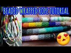 Beaded Wrapped Rope Tutorial - Best DIY and Crafts 2019 Native Beading Patterns, Beadwork Designs, Native Beadwork, Bead Patterns, Bracelet Patterns, Beading Techniques, Beading Tutorials, Lanyard Tutorial, Beads Tutorial