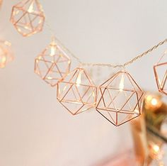 MUEQU Metal String Lights, Rose Gold Metal Geometric Lights Battery Powered Fairy Lights Indoor Decorative Lights for Holiday Christmas Wedding Party Home Decoration Rose Gold Room Decor, Rose Gold Rooms, Cute Room Decor, Teen Room Decor, Bedroom Decor, Bedroom Ideas, Decoration Evenementielle, Indoor String Lights, Decorating Rooms