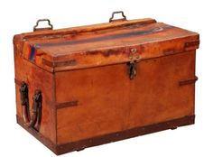 19th century leather mule chest