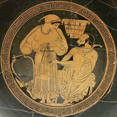 Euphronios as potter (signed), Onesimos as painter. Interior from an Attic red-figured kylix, ca. 490. From Vulci.British Museum