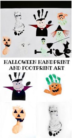 Adorable Halloween Handprint and Footprint Art for Kids. Adorable Halloween Handprint and Footprint Art for Kids. Diy Halloween, Halloween Art Projects, Halloween Arts And Crafts, Halloween Crafts For Toddlers, Halloween Canvas, Toddler Halloween, Daycare Crafts, Baby Crafts, Daycare Rooms