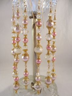 Pink Pearl Crystal Christmas Ornaments Bead by LaReineDesCharmes, $36.00